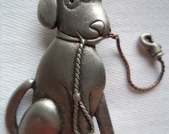 Vintage Signed JJ Silver pewter Goofy Dog with Leash in Mouth  Brooch/Pin