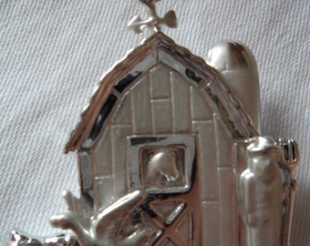 Vintage Signed AJC Silvertone/Matt Farmers Barn Brooch/Pin