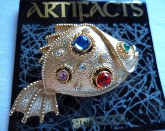 Vintage Signed JJ Goldtone Fish with Rhinestones Brooch/Pin