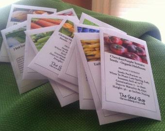 Garden Seed Starter Pack  - Organic Heirloom  - 10 Seed Packs - 20% Off