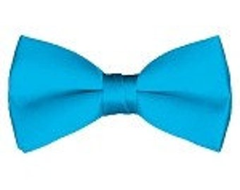 mens Bow tie (pre tied) Turquoise blue custom made many colors