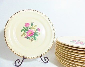 Set of 4 Harker Dessert Plates Bread Plates Wild Rose 22kt Gold Trimmed Scalloped Edge, 3 Sets Avail, Shabby and Chic Farmhouse Pink Roses