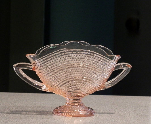 Pink Depression Glass Fan Vase Thousand Eye Pattern