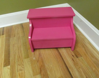 Kids  wood step stool (pink)
