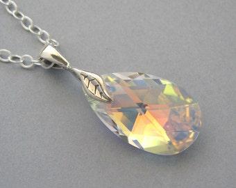 Genuine Swarovski, Teardrop Crystal, Sterling Silver, Swarovski Pendant, Bridal Necklace, Silver Necklace, Leaf, Swarovski Necklace - DK291