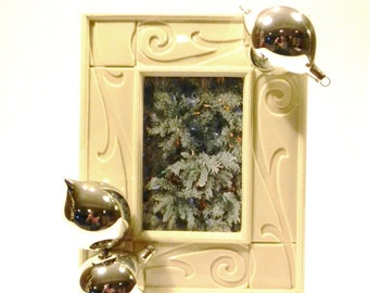 Porcelin Sculpted Frame with Silver Ornaments