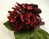 Velvet and Organdy Flowers Millinery Hydrangea Bouquet Red Wine Shabby Violets for Hats Crafts Weddings 2FN0023R