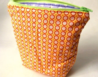 Yellow Polka Dot Handmade Zippered Pouch / Make-up Bag / Cosmetic Bag / Gifts for Her / Gifts for him