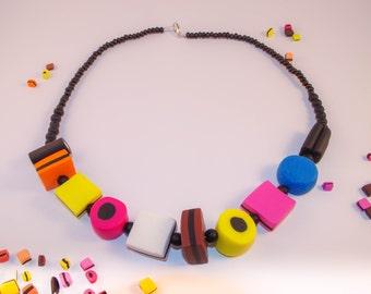 Chunky Liquorice Allsort Necklace - Beaded Sweetie Necklace