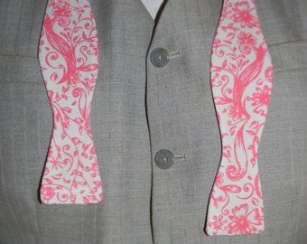 White and Pink Batwing Cotton Bowtie--Adjustable, Easy-fastening