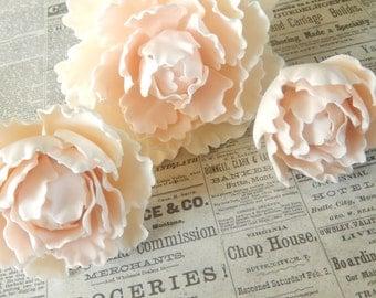 Blush Pink Sugar Gumpaste Peonies Wedding Cake Topper Set of 3