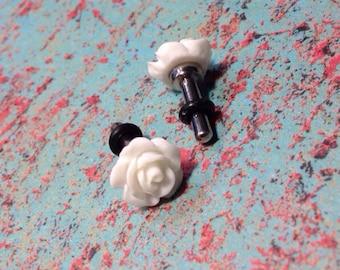 Smaller Rose plugs for gauged ears: 14g, 12g, 10g, 8g, 6g