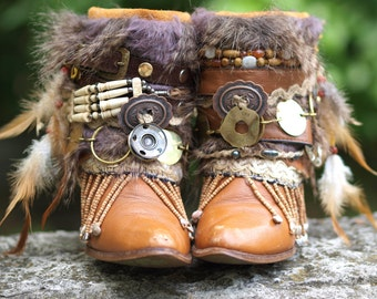 Custom upcycled REWORKED vintage BOHO boots festival BOOTS gypsy boots ankle boots belted boots Cowgirl Boots Upcycled boots