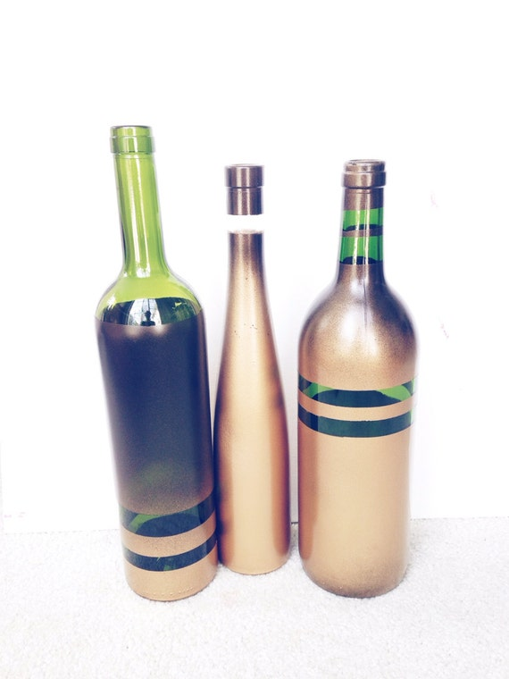 Items similar to upcycled wine decor spray painted for Spray painting wine glasses
