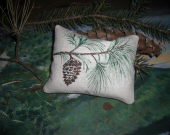 Balsam Fir Pillow Square with Handpainted Pine Cone Great Wedding Favor