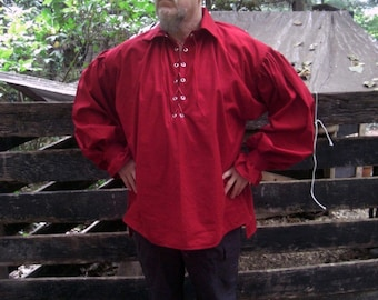Men's Renaissance Pirate, Viking, Celtic, Steampunk Poet Shirt Red Custom to fit in any size