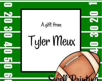 Printable Personalized 3-inch square Football Gift Tag or Label Football by Swell Printing