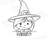 Cute Witch Digital Stamp/ KopyKake Image