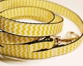 "3/4"" wide - Yellow Chevron dog leash"