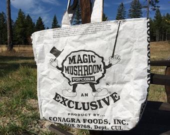 Upcycled Feedbag Tote. Magic Mushrom Popcorn - Handmade in Kalispell, Montana USA. FREE USA Shipping
