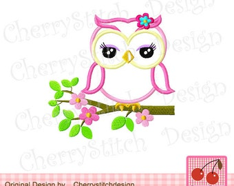 Owl on a branch Machine Embroidery Design -4x4 5x5 6X6""