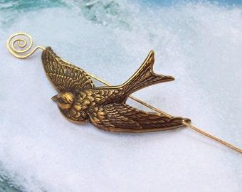 Bird Shawl Pin, Bird Scarf Pin, Bird Sweater Pin, brass shawl pin, fall fashion, slide, hammered, matte, sparrow