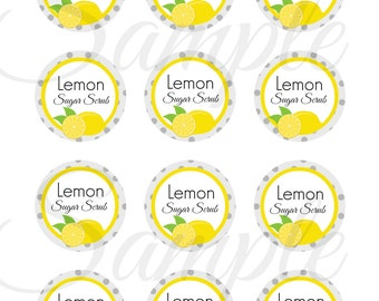 INSTANT Download Lemon Sugar Scrub 2 inch Digital Circles Images / sheet Cupcakes, Toppers, Buttons, Bottlecaps, Charms, Iron On, Transfers
