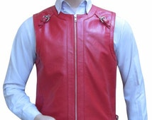 Leather Vest With Shoulder Strap With Buckle BVA001