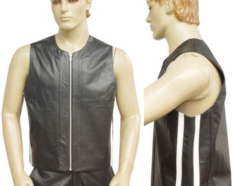 Real Leather Vest with White side Stripes BVAN006