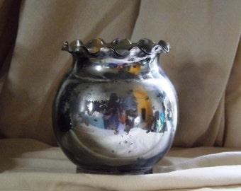 Round Mercury Glass Vase - Candle Holder - Wedding Vases