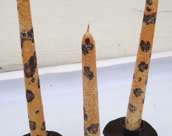 Leopard design, hand painted 10 inch taper candle trio