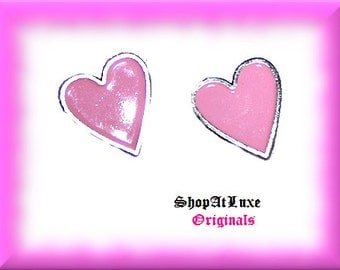 Pink Heart Post Stud Earrings