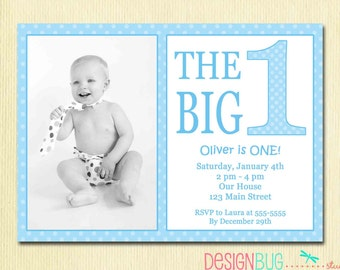 Girls rainbow polka dot birthday invitation custom photo the big one first birthday baby boy invitation custom photo invite blue polka dots stopboris Gallery
