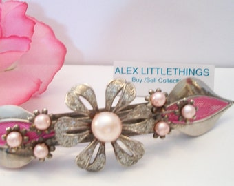 Vintage Pink Floral Pearl Barrette Hair Clip Wedding Prom Quinceanera