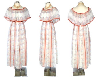 60s to 70s Dress Vintage White Cotton Voile Hippie Gown Flower Power S Free Domestic and Discounted International Shipping