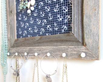 Jewelry Organizer Barnwood Frame Nautical Navy Blue and White Jewelry Holder Frame