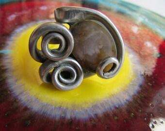 Vintage Fork & Stone Ring Modernist Organic