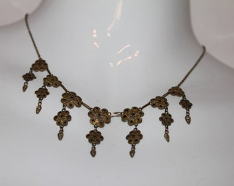 Delicate India Brass filigree necklace