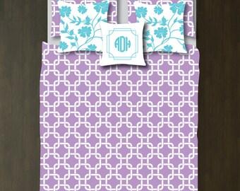 Custom Preppy Chain Link Bedding Set-Duvet Cover-Shams-African Violet-White-Twin XL/Full/Queen/King-Bedding-Bedroom-Bed-Kids Room-Girl-Size