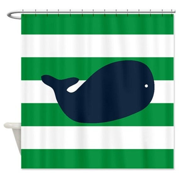 Whale Shower Curtain Navy Blue Green