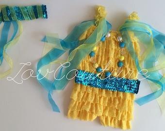 The Little Mermaid Inspired Flounder Costume Halloween Costume. Birthday Girl
