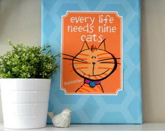 CAT LOVER CANVAS Art Print - Orange and Blue Colors Add Punch to Any Decor