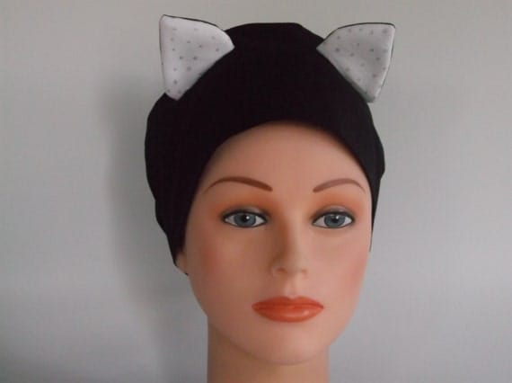 Black Cat Womens Surgical Scrub Cap Chemo Hat Bakers Hat