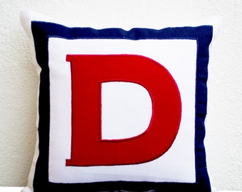 Personalized White, Red, Navy Blue Monogram Pillow, Big letter Pillow, Alphabet Throw Pillow, Customized Red letter Cushion, Pillow, 26x26