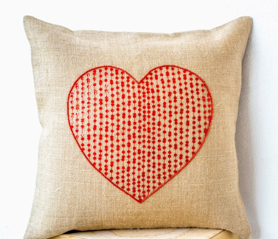 Decorative Valentine Pillows : Items similar to Burlap pillow cover with large sequin red heart- Decorative cushion cover ...