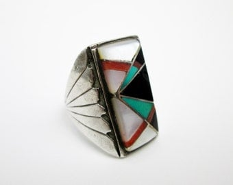 Large Navajo Signet Ring, Signed Lennie Mariano, Turquoise, Coral, Onyx, & MOP Inlaid in Sterling, Mid Century, SW USA.