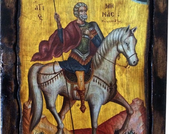 SAINT ST. MENAS - Orthodox Byzantine icon on wood handmade (22.5cm x 17cm)