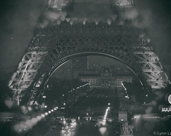 """Black and White Photography -  Eiffel Tower at night, vintage, Paris prints, Paris photography, home decor, romantic- """"Caressed by Night"""""""