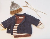 Hand Knit Tweed Navy Baby Peacoat, Knit Baby Cardigan, Cardigan Sweater, Simple Baby Coats, Knitted Baby Sweater, Baby Knitwear