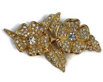 JOAN RIVERS Vintage Duette Rhinestone Flowers Brooch and Earrings Set